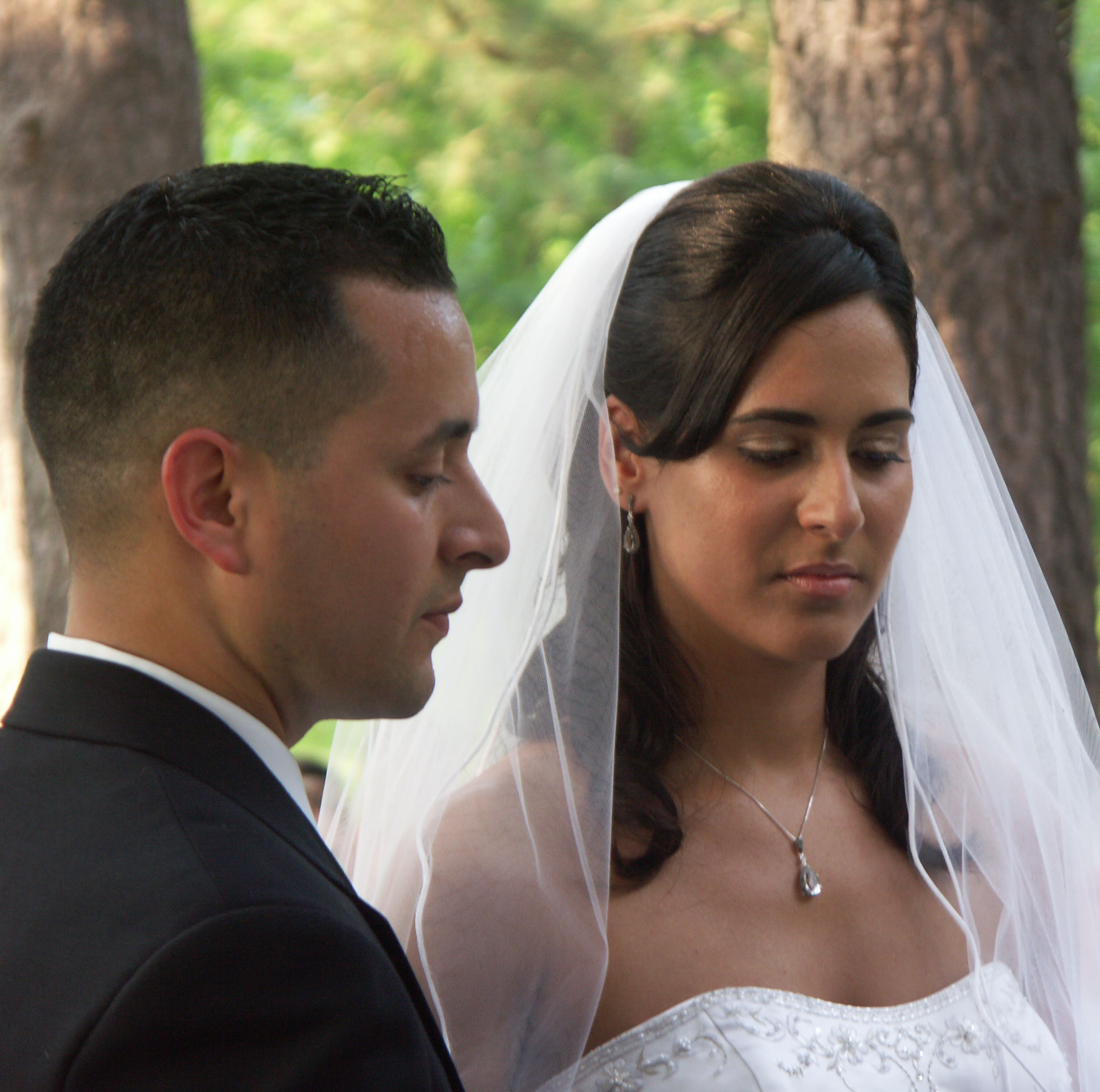 Formal wedding portrait at the Norfol Botanical Garden , photography by virginia beach portrait photographer , Diamond Photography 757-416-4694
